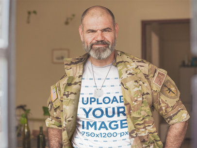 T-Shirt Mockup Featuring a Veteran Wearing Uniform a20627