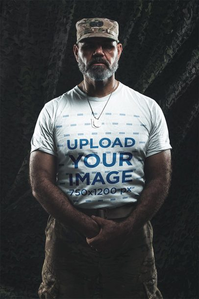 T-Shirt Mockup of a Military Man in Uniform a20640