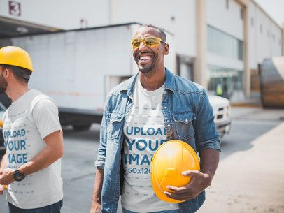 Industrial Workers Wearing T-Shirts Mockup at Noon a20439