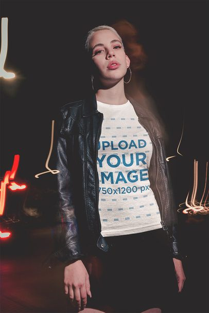 Slow Shutter Photo of a Short-Haired Woman Wearing a Tshirt Mockup at Night a18903