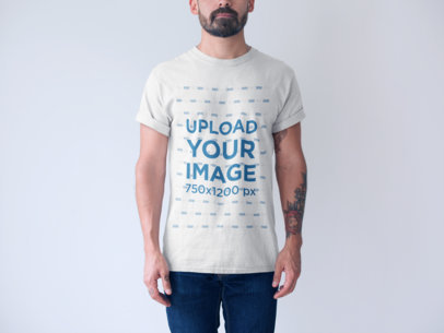 Generic T-Shirt Mockup of a Tattooed Man a20738