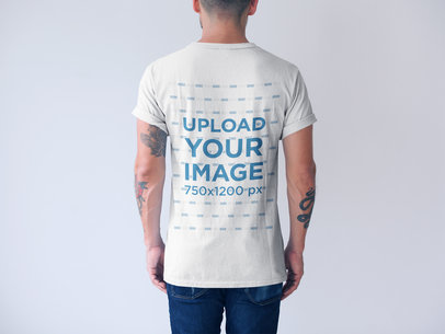 Generic T-Shirt Mockup of the Back of a Man a20738b