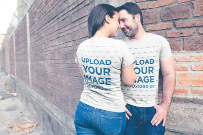 Loving Couple Wearing T-Shirts Mockup Showing Their Back and Front Designs a20619