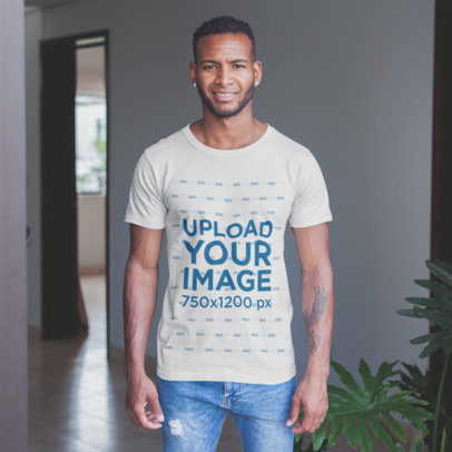 T-Shirt Mockup of a Black Man Wearing a T-Shirt with Jeans a20743
