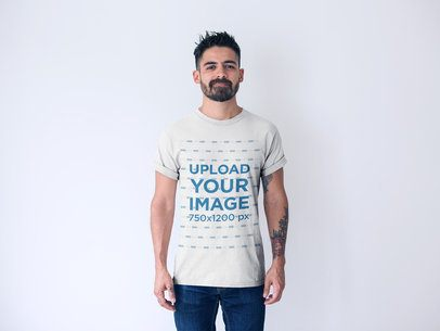 Front Shot T-Shirt Mockup Featuring a Short-Haired Man with a Beard 20740