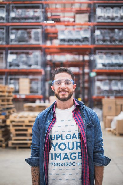 Smiling Warehouse Worker Wearing a T-Shirt Mockup a20450
