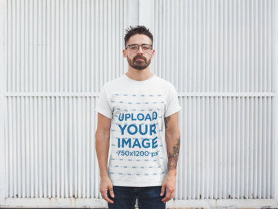 Round Neck Tshirt Mockup Featuring a Man with Glasses 20747