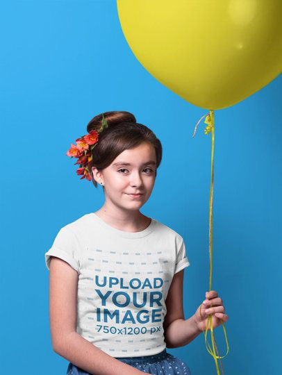 Portrait of a Girl Wearing a T-Shirt Mockup Holding a Balloon a19586