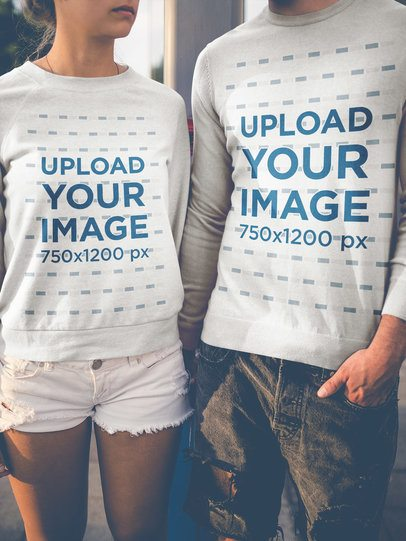 Closeup Shot of a Couple Wearing Crewneck Sweatshirts Mockup a20594