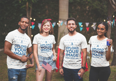 Interracial Group of Four Friends Wearing Tshirts Mockup at a BBQ Party a20837