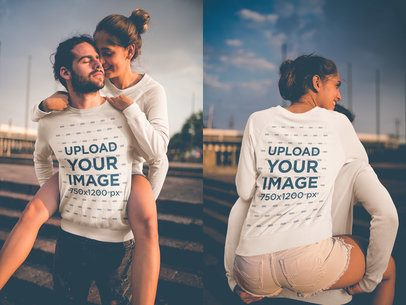 Double Shot of a Man Carrying his Girlfriend on his Back Wearing Crewneck Sweaters Mockup a20597