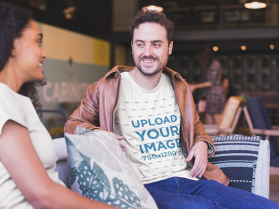Smiling Man Wearing a Tshirt Mockup and a Leather Jacket with a Friend a20394