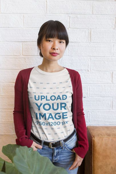 Portrait of a Girl Wearing a Tshirt Mockup at a Startup a20431