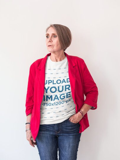 Portrait of a Senior Lady Wearing a Round Neck T-Shirt Mockup and a Red Jacket a20662