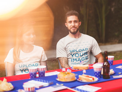 T-Shirt Mockup of a Man and a Woman Having Fun at a 4th of July BBQ Party a20835