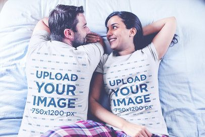 Loving Couple Wearing Tshirts Mockup Waking Up on Bed a20603