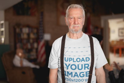 Senior Man Wearing a Tshirt Mockup and Suspenders at the Nursing Home a20657
