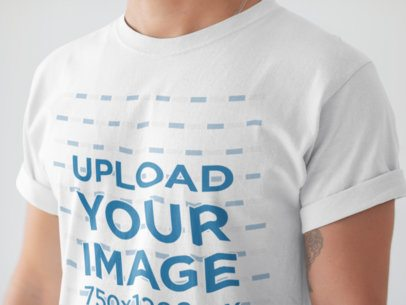 Angled Closeup of a T-Shirt Mockup Being Worn by a White Man a20894