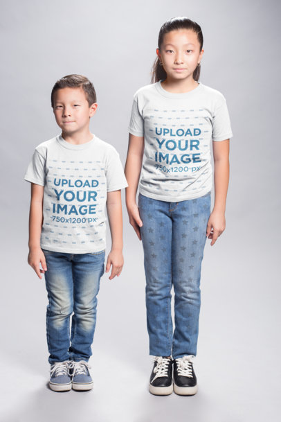 Asian Kids Wearing T-Shirts Mockup in a White Room a20935