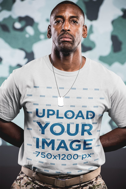Portrait of a Veteran Wearing a T-Shirt Mockup a20920