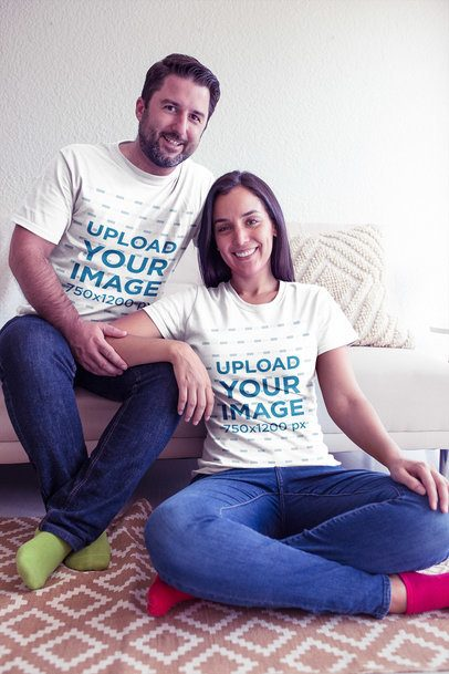 Man and Woman Wearing Round Neck Tees Mockup without Shoes a20606