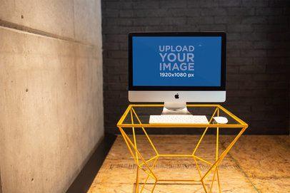 iMac Template Standing on a Rectangular Glass Desk a21179