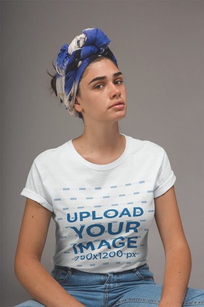 Girl with Freckles and a Headwrap Wearing a T-Shirt Mockup a20856
