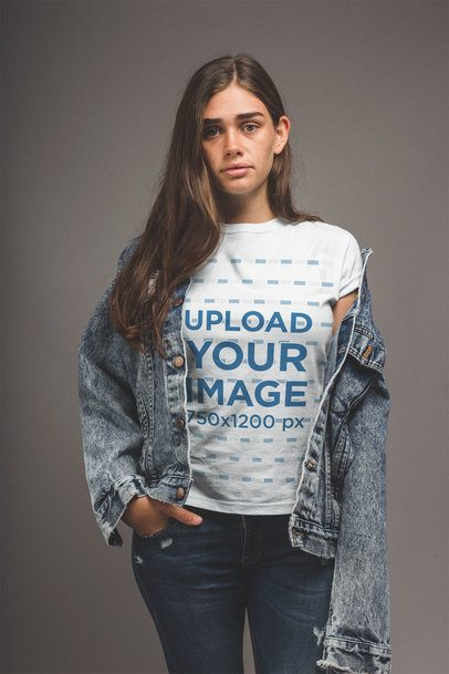 T-Shirt Mockup of a Girl with a Hand in her Pocket a20862
