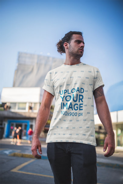 Man with Manbun Standing Outside | T-Shirt Mockup 19930a