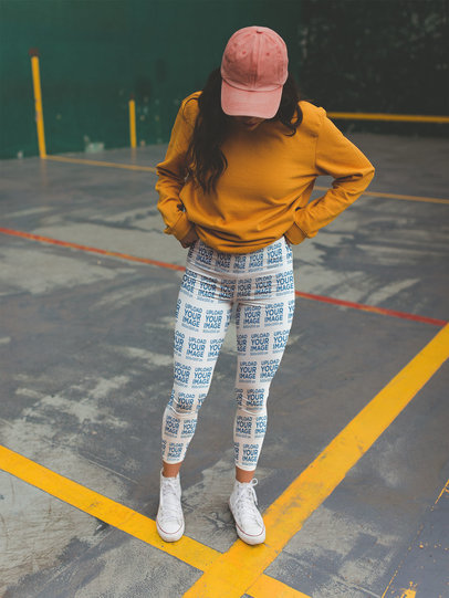 Leggings Mockup of a Girl with Yellow Sweatshirt at a Parking Lot a19042