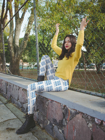 Leggings Mockup of a Pretty Girl Grabbing a Chain Link Fence a19066