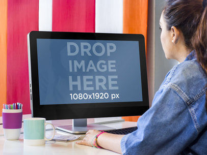 Dell PC Mockup of Girl at Creative Office