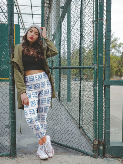 Mockup of a Trendy Girl Wearing Leggings at a Basketball Court Entrance a19051