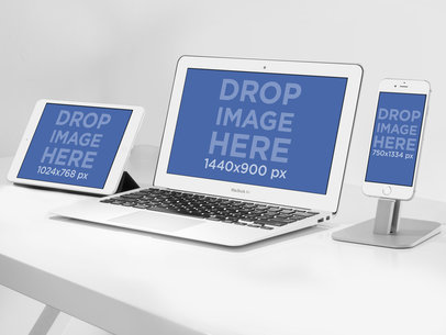 iPad, Macbook Air and iPhone 6 Mockup Template