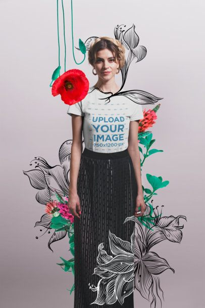 T-Shirt Mockup of a Blonde Girl Wearing a Black Skirt with Flowers Around Her 20260a