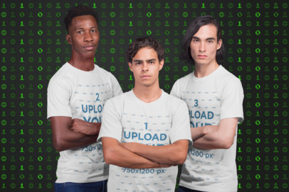 Mockup of a Small Esports Team Wearing T-Shirts a21086