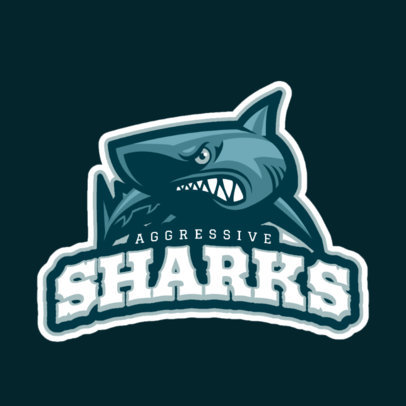 Sports Logo Maker with Bull Shark Art 21b