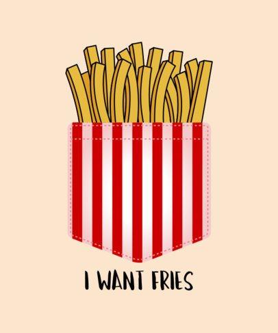 Fries in Pocket T-Shirt Design Template 31d