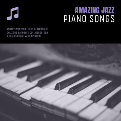 Jazz Album Cover Maker with Piano Background 58b-1819