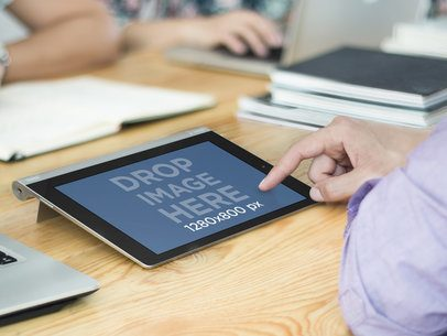 Using Lenovo Tablet Mockup at Creative Office