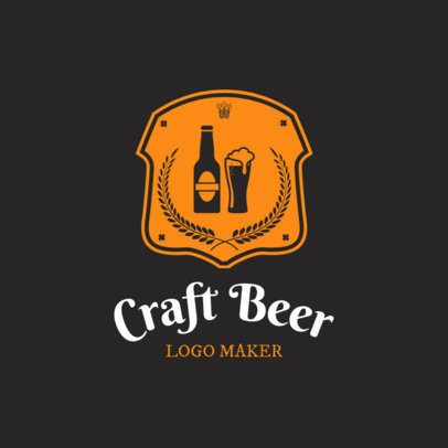 Craft Beer Shop Logo Maker with Shield Icons 1061d