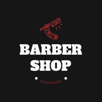 Barbershop Logo Template with Shaving Knife Icon 1123a