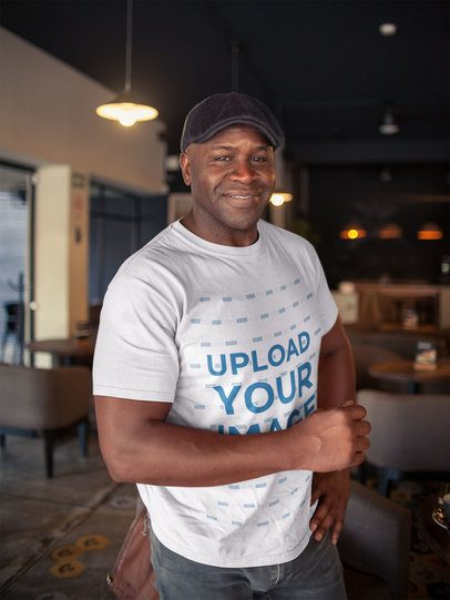 T-Shirt Mockup of a Happy Black Man Wearing a Beret a21420