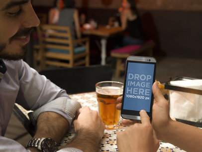 Android Mockup Template of Couple Having Drinks