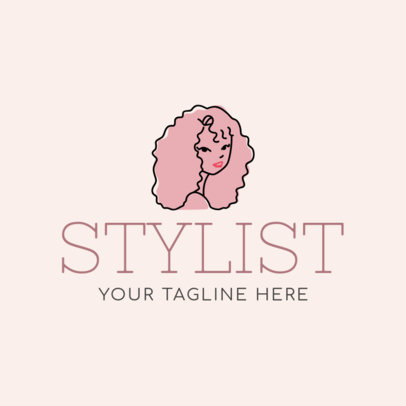 Hair Stylist Logo Maker with Line Art 1162c