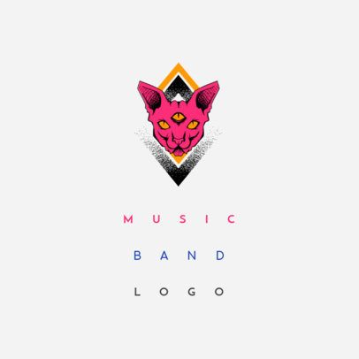 Musician Logo Maker with Three Eyed Cat Graphic 1095c