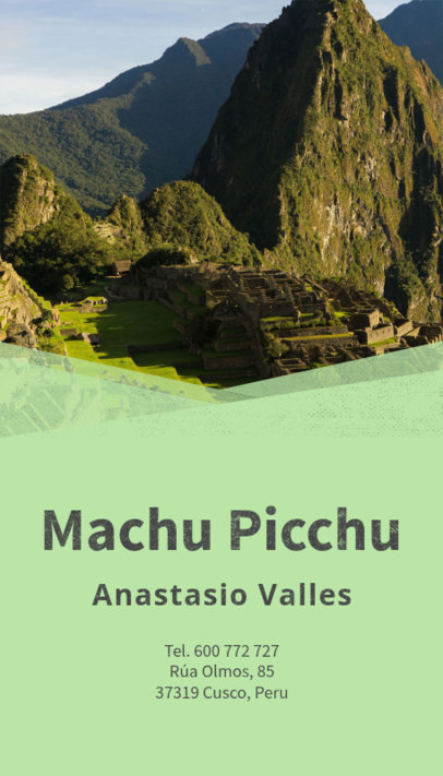Business Card Maker for Travel Agents with Machu Picchu Image 160c