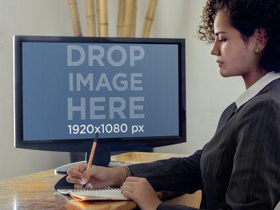 Businesswoman on PC Desktop Mockup Template