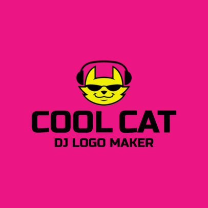 DJ Logo Maker with a Cat in Sunglasses Icon 1184f