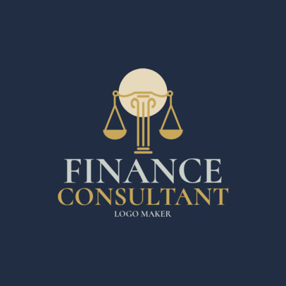 Finance Consultant Logo Maker with Scales of Justice 1175b